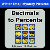 Winter Math: Convert Decimals to Percents - Color-By-Numbe
