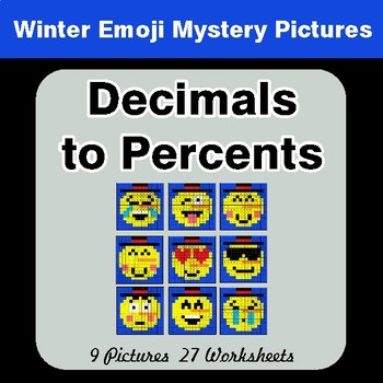 Winter Math: Convert Decimals to Percents Color-By-Number Math Mystery Pictures