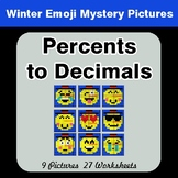 Winter Math: Convert Percents to Decimals - Color-By-Numbe