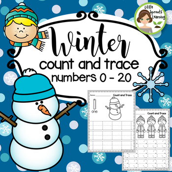 Winter Math Count and Trace 1 - 20