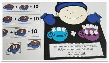 Winter Math Craft and Centers for Sums of 5 and 10