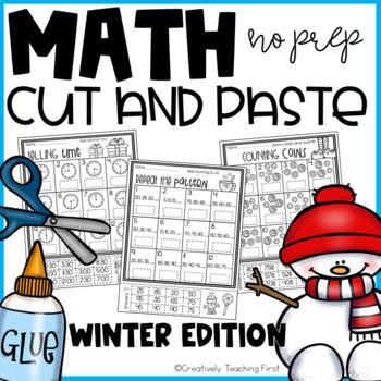 Winter Math Cut and Paste NO PREP {Grades 1-3}