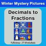 Winter Math: Decimals To Fractions - Color-By-Number Math