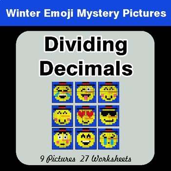 Winter Math: Dividing Decimals - Color-By-Number Mystery Pictures
