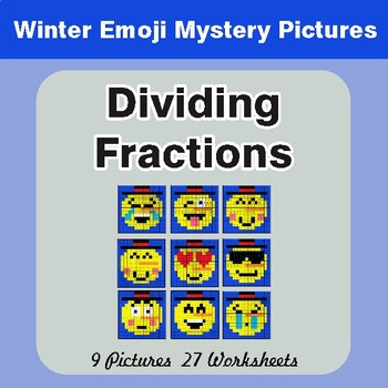 Winter Math: Dividing Fractions - Color-By-Number Mystery Pictures