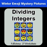 Winter Math: Dividing Integers - Color-By-Number Mystery Pictures