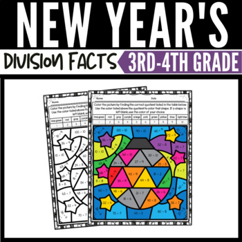 New Year's Math Division Color by Number Worksheets 2