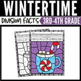 Winter Math Division Color by Number Worksheets