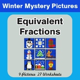 Winter Math: Equivalent Fractions - Color-By-Number Myster