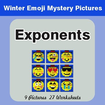 Winter Math: Exponents - Color-By-Number Mystery Pictures