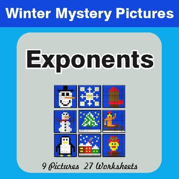 Winter Math: Exponents - Color-By-Number Math  Mystery Pictures