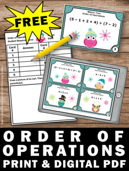 FREE Order of Operations Game, Winter Math Activities, 5th Grade Math Centers