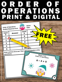 FREE Order of Operations Task Cards, 5th Grade Math Review
