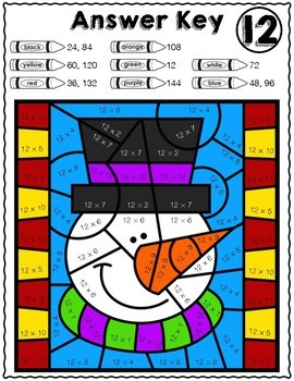Winter Math FREEBIE! | Snowman Multiplication Color by Number Worksheet 12's