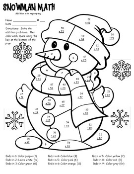 winter math facts color sheet 2 digit addition with regrouping tpt. Black Bedroom Furniture Sets. Home Design Ideas