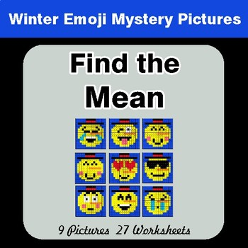 Winter Math: Find the Mean - Color-By-Number Mystery Pictures