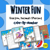 Winter Math Fraction, Decimal & Percent Color By Number