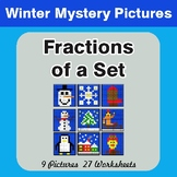Winter Math: Fractions of a Set - Color-By-Number Mystery