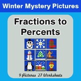 Winter Math: Fractions to Percents - Color-By-Number Myste