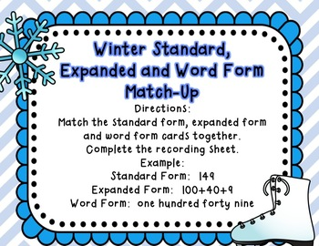 Winter Math Freebie: Standard, Expanded and Word Form Match-Up