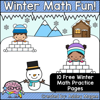 Winter Math Fun Freebie (10 Printable Math Practice Pages for Winter!)