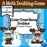 """Doubling Math Facts Game """"Criss-Cross Doubles"""" in Winter"""