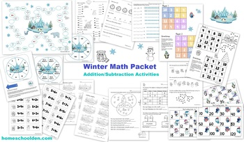 Winter Math Games & Activities (Addition, Skip Counting)