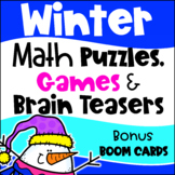 Winter Math Activities: Worksheets, Games, Brain Teasers and Bonus Boom Cards