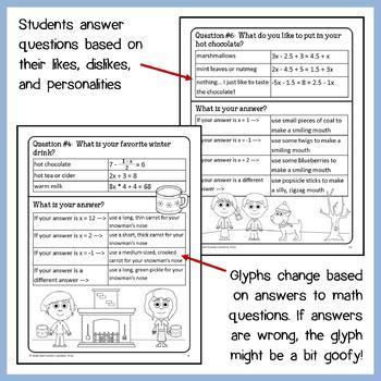 Winter Math Goofy Glyph (8th Grade Common Core)