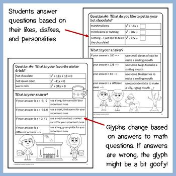 Winter Math Goofy Glyph (Algebra Common Core)
