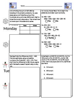 Winter Math Homework