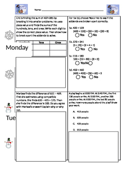 Winter Math Homework