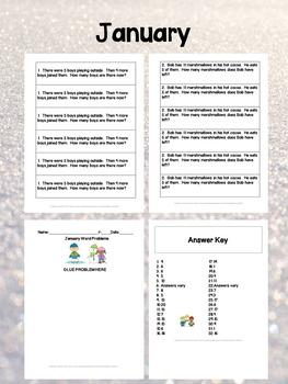Winter Math Journal Word Problems Bundle for 1st Grade