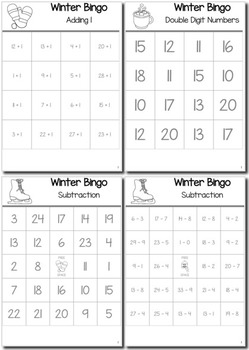 Winter Math Kindergarten BINGO Game Bundle