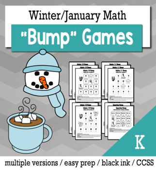 Winter Math Kindergarten Bump Games Bundle