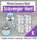 Winter Math Kindergarten Scavenger Hunt Game Bundle