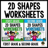 2D Shapes (First Grade) and 2D Shapes (Second Grade) Math Worksheets Bundle