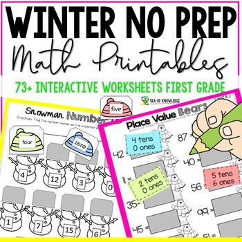 ELA and Math No Prep First Grade Printables - Winter Bundle