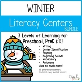 Winter Literacy Center Bundle for Preschool, PreK, K & Homeschool!