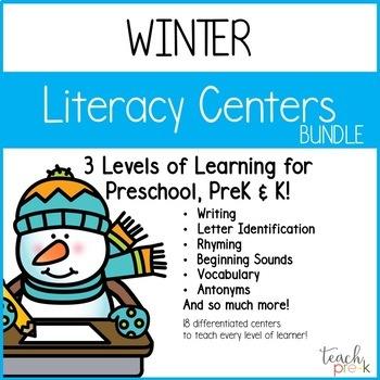 Winter Literacy Center Bundle for Preschool, PreK, K & Homeschool!