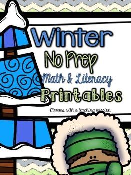 Winter Math & Literacy Printables NO PREP