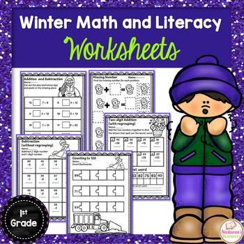 Winter Math & Literacy Printables Print & Go (First Grade)