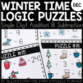 Winter Math Logic Puzzles- Addition and Subtraction