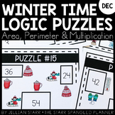 Winter Math Logic Puzzles- Area, Perimeter and Multiplication