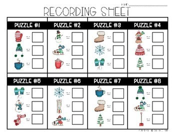 Winter Math Logic Puzzles- Area, Perimeter and Multiplication