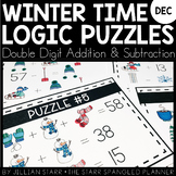 Winter Math Logic Puzzles- Double Digit Addition and Subtraction