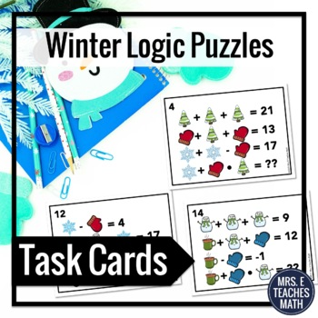 Winter Math Logic Puzzles Task Cards