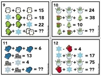 Winter Math Logic Puzzles Task Cards