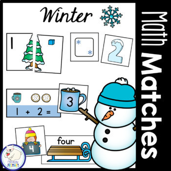 Winter Math Matches: Numbers 1-20