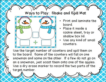 Winter Math Mats and Ten Frames - Composing and Decomposing Numbers